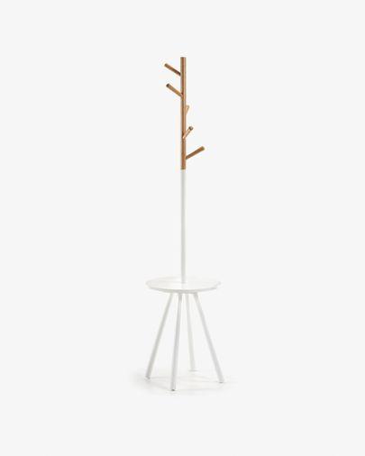 Perchero bandeja Nerb madera lacada blanco y madera de caucho natural 40 x 170 cm