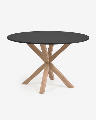 Full Argo runder Tisch mit schwarzer MDF-Platte und Stahlbeinen mit Holzeffekt Ø 119 cm