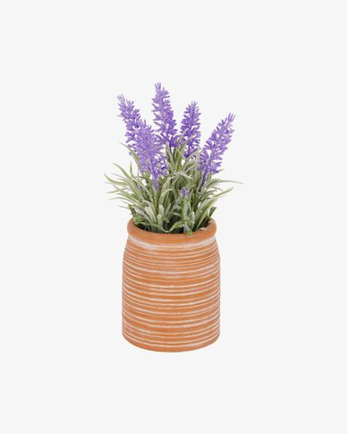Planta artificial Lavanda con maceta de cerámica marrón 22 cm