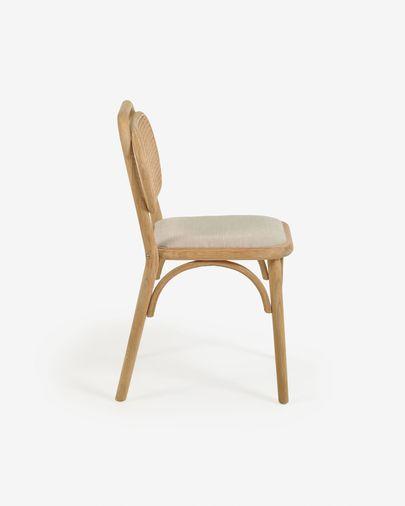 Silla Doriane madera maciza roble acabado natural y asiento de tela