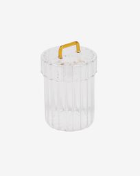 Gretel transparent and yellow glass jar