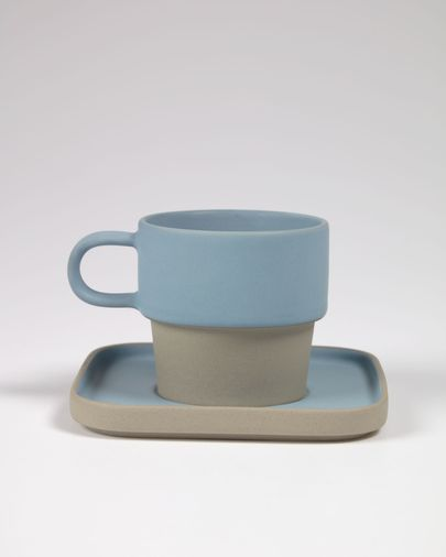 Midori ceramic cup and saucer in blue