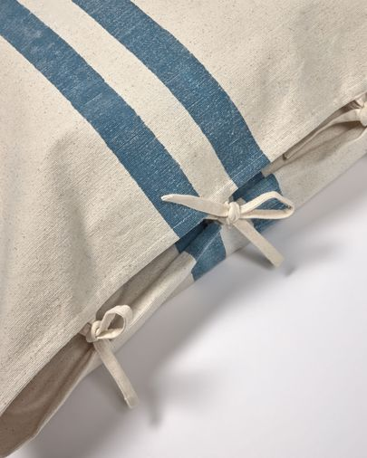 Housse de coussin Ziza 100% coton larges rayures bleu et blanc 60 x 60 cm