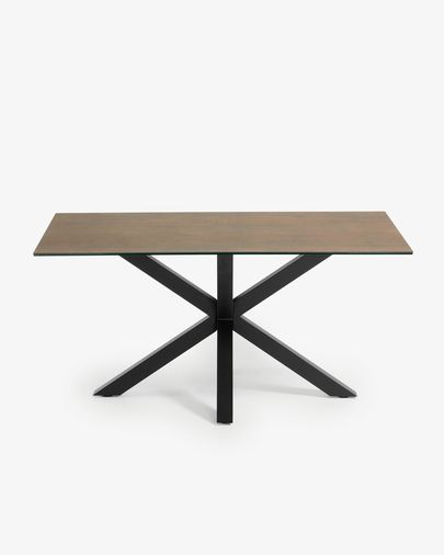 Argo table 160 cm porcelain Iron Corten finish black legs