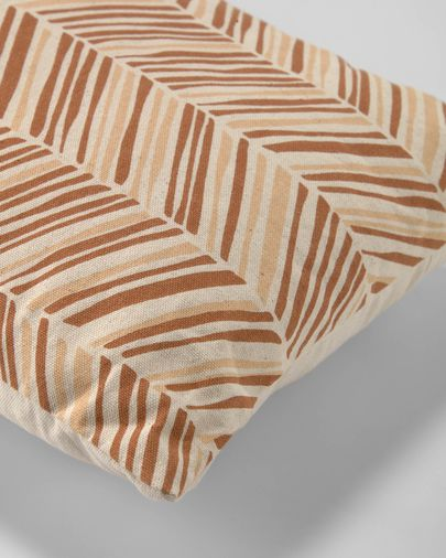 Uriana 100% katoenen kussenhoes in bruin en geel 30 x 50 cm