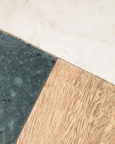 Tabla de cortar Wilmina de mármol blanco y verde y madera de mango