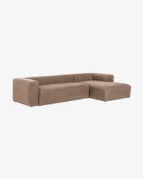 Pink Blok 3-seater sofa with right chaise longue 330 cm
