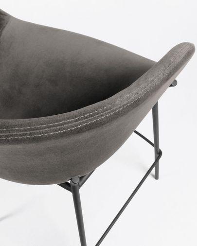 Tabouret de bar Yvette velours gris hauteur 74 cm