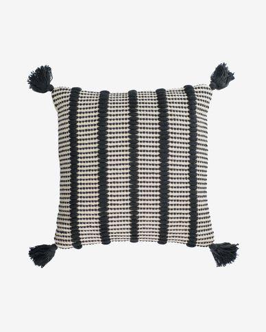 Funda cojín Maine 100% algodón rayas blanco y negro 45 x 45 cm