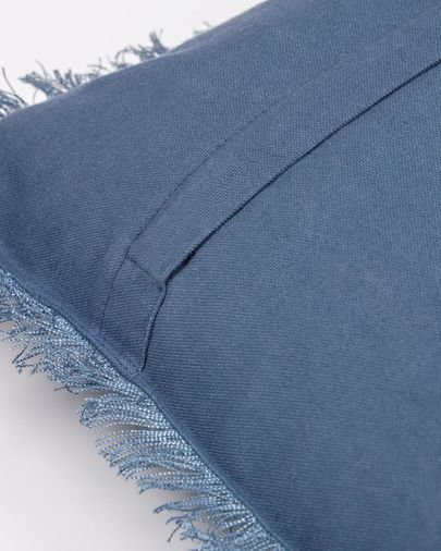 Almira blue cotton and linen cushion cover with fringe 45 x 45 cm