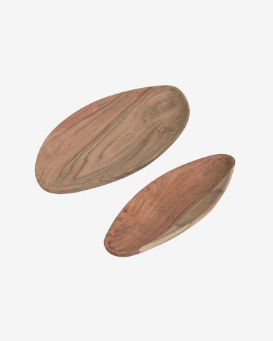 Set Ursula de 2 bandejas de madera maciza de acacia