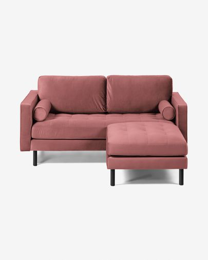 Debra pink velvet 2-seater sofa with pouf 182 cm