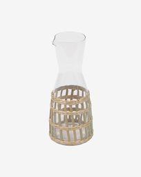 Carafe Emelia en verre transparent et fibre marron