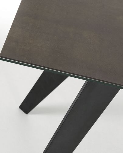 Koda table 180 cm porcelain Iron Moss finish black legs