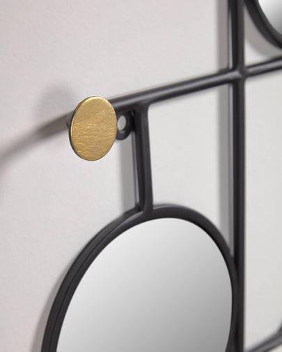 Miroir avec crochets Vianela 50 x 35 cm doré