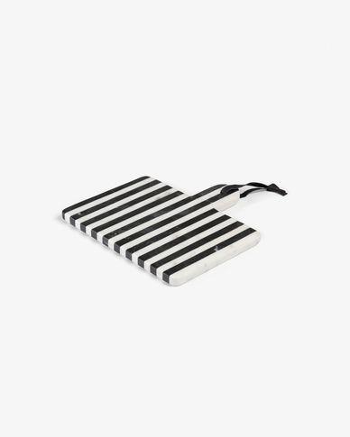 Taula de servir rectangular Bergman marbre blanc i negre