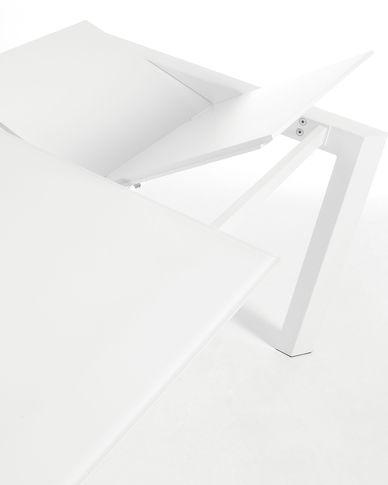 Axis uitschuifbare tafel 160 (220) cm wit glas wit benen