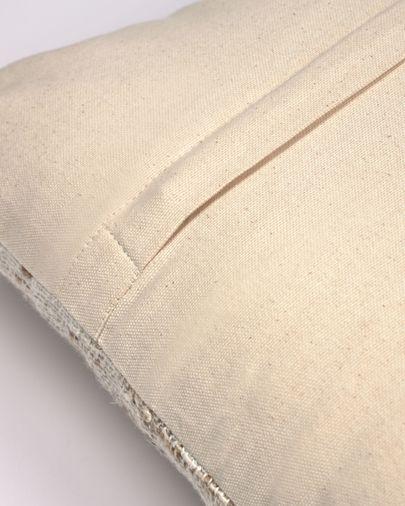 Devi katoenen en linnen kussenhoes met beige en bruine strepen 45 x 45 cm