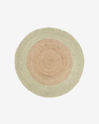 Adabel round natural jute rug in green Ø 120 cm