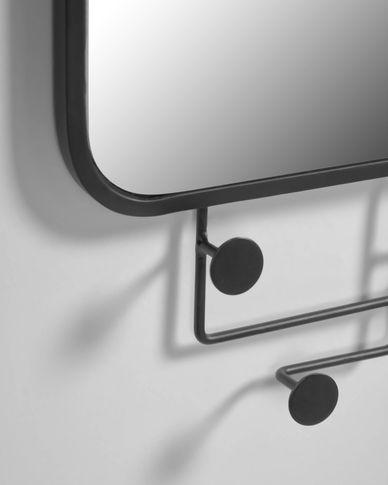 Vianela black mirror with hangers 63 x 82 cm