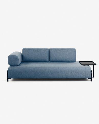 Blue 3 seaters Compo sofa wiht big tray 252 cm