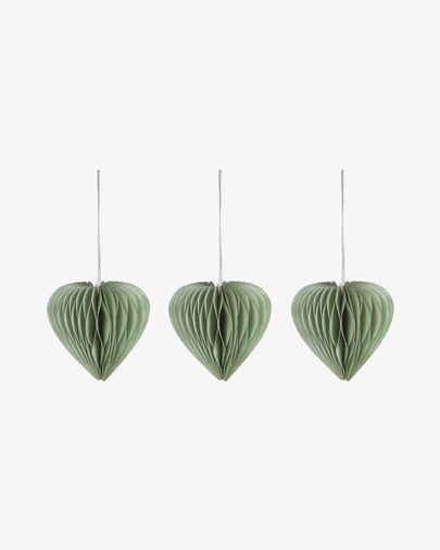 Lot Uriel de 3 décorations sapin de Noël vert