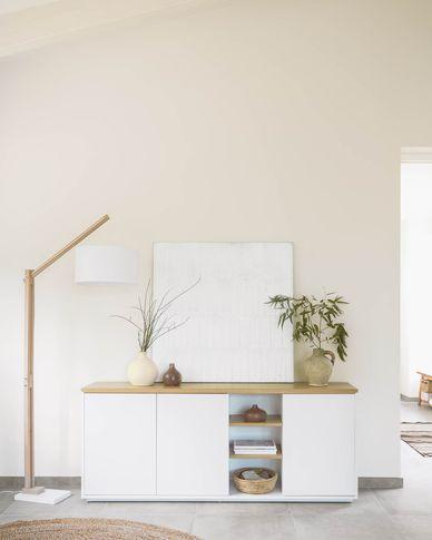 Buffet Abilen contreplaqué de chêne et laqué en blanc 180 x 75 cm FSC 100%