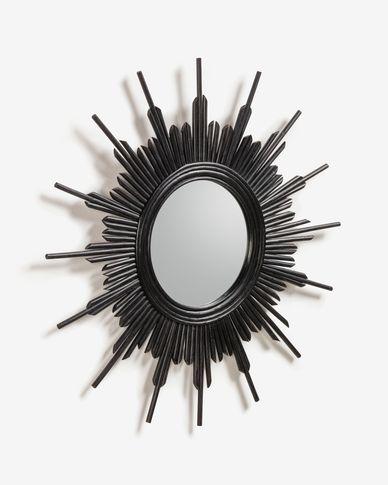 Espejo Marelli de ratán Ø 70 cm negro