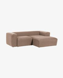 Pink Blok 2-seater sofa with right chaise longue 240 cm