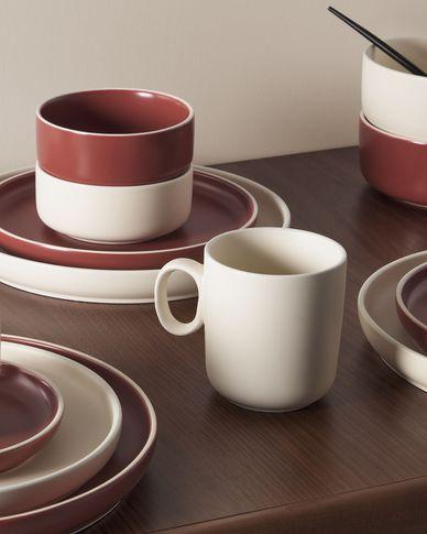 Taza de café Roperta de porcelana beige