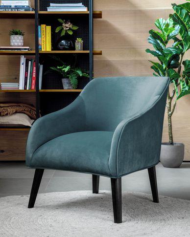 Turquoise vevlet Bobly armchair wenge finish legs