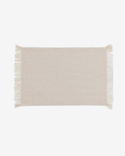 Aicha set van twee 100% katoenen tafelkleden met beige franjes 35 x 50 cm