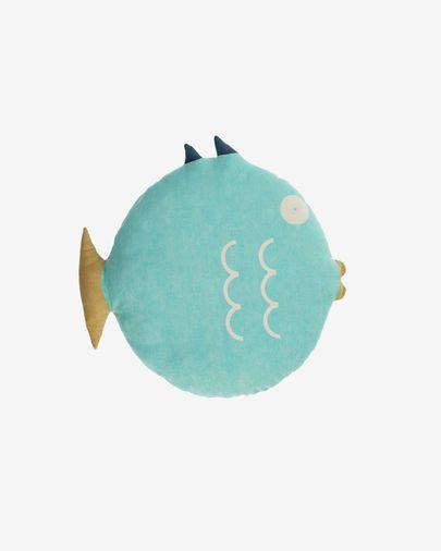 Cojín en forma de pez Delmare 100% algodón turquesa Ø 45 cm