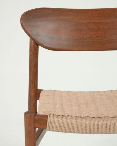 Galit chair made from solid eucalyptus wood with walnut finish & beige paper cord FSC 100%