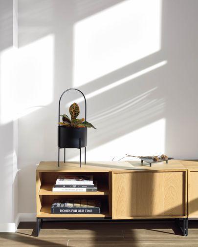 Taiana tv-meubel in gefineerd eikenhout en stalen frame in zwart 112 x 51 cm