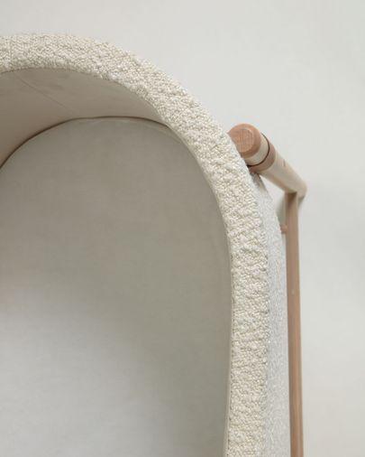 Adara Mozes mand met wit fleece en massief beukenhouten poten 69 x 46 cm