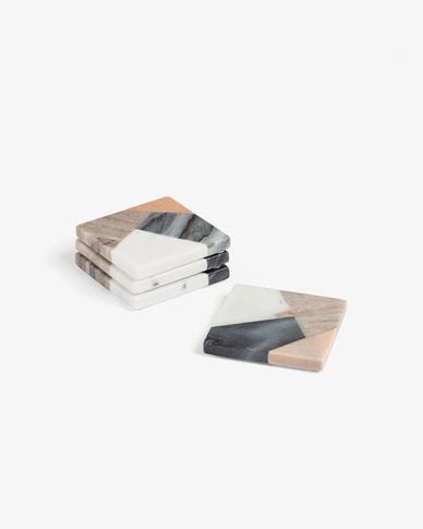 Set di 4 sottobicchieri quadrati Bradney marmo multicolore