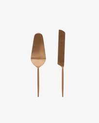 Kelda 2-piece cutlery set for cake rose gold