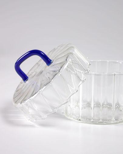Bote Gretel vidrio transparente y azul