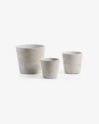Set Low de 3 cachepots gris