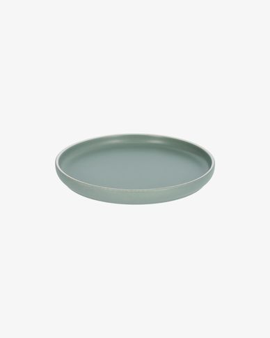 Shun dessert plate in green porcelain