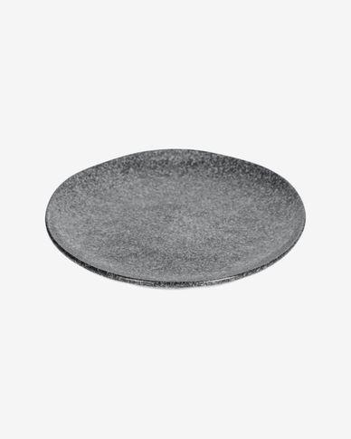 Bord Airena plat van keramiek in zwart