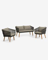 Inti set with a cord 2-seater sofa and 2 armchairs in green (100% FSC)