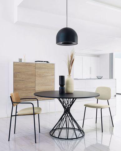 Niut runder Tisch aus schwarz lackiertem MDF und mit schwarzen Stahlbeinen Ø 120 cm
