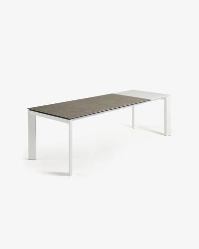 Axis uitschuifbare tafel 160 (220) cm porselein afwerking Vulcano Ash wit benen