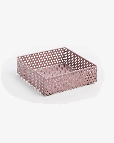 Metal tray Emorie 16 x 16 cm pink