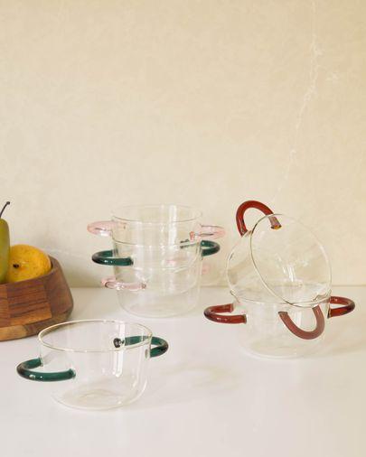 Dusnela transparent and orange glass bowl