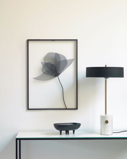 Tableau métallique Nakita fleur noir 40 x 46 cm