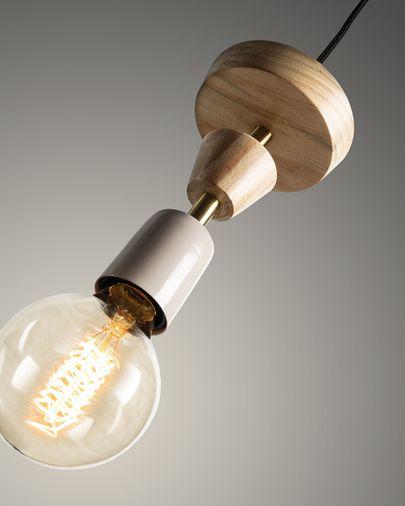 Lámpara de techo Naroa de madera maciza de haya y acero con acabado blanco