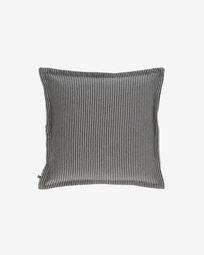 Aleria cotton cushion cover with white and grey stripes 45 x 45 cm